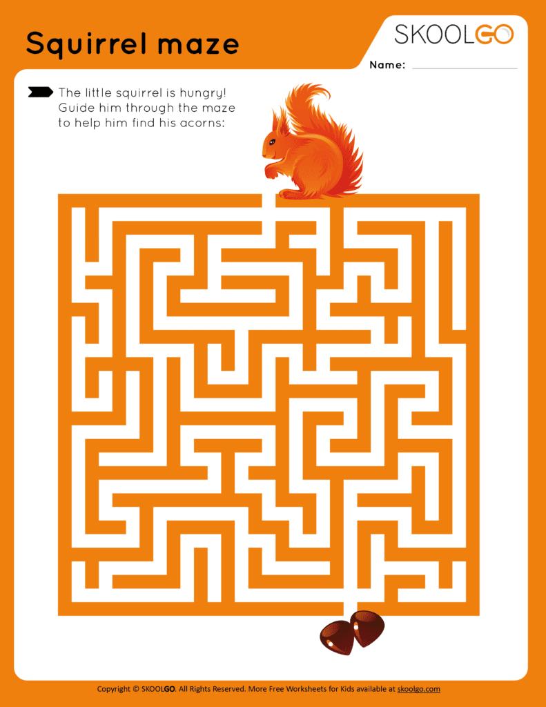 Squirrel Maze - Free Worksheet for Kids