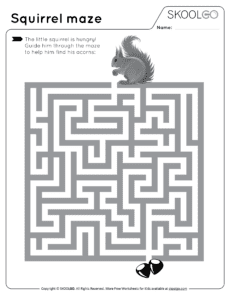 Squirrel Maze - Free Black and White Worksheet for Kids
