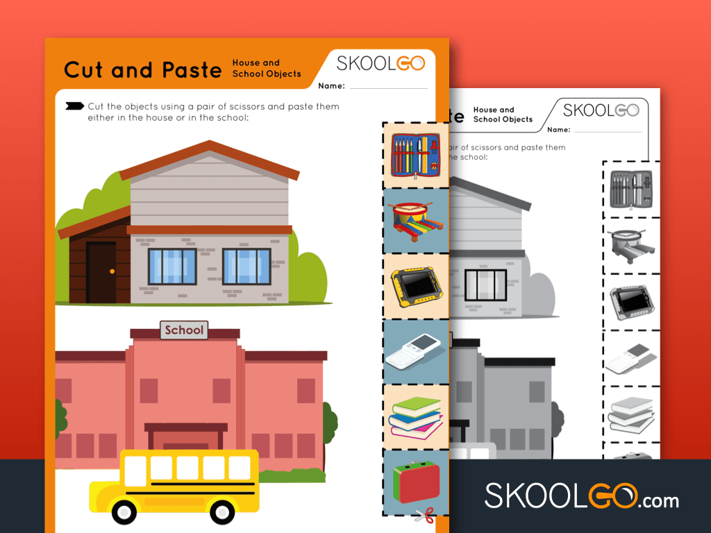 Free Worksheet for Kids - Cut and Paste House and School Objects - SKOOLGO