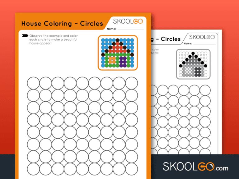 Free Worksheet for Kids - House Coloring - Circles - SKOOLGO