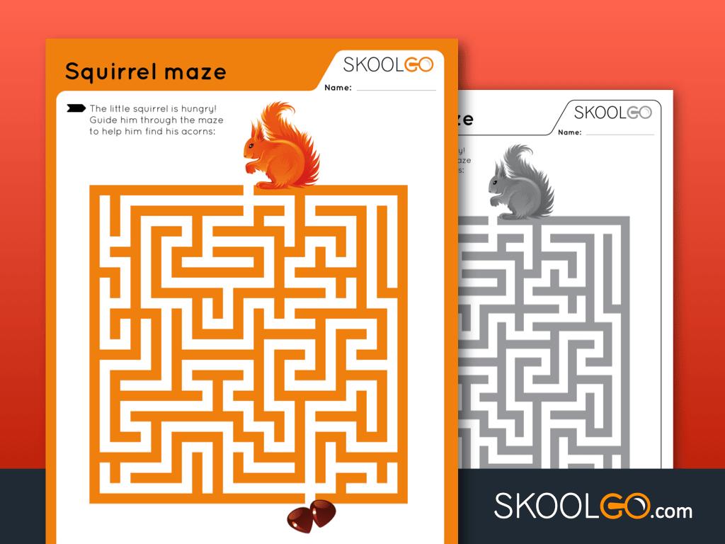 Free Worksheet for Kids - Squirrel Maze - SKOOLGO