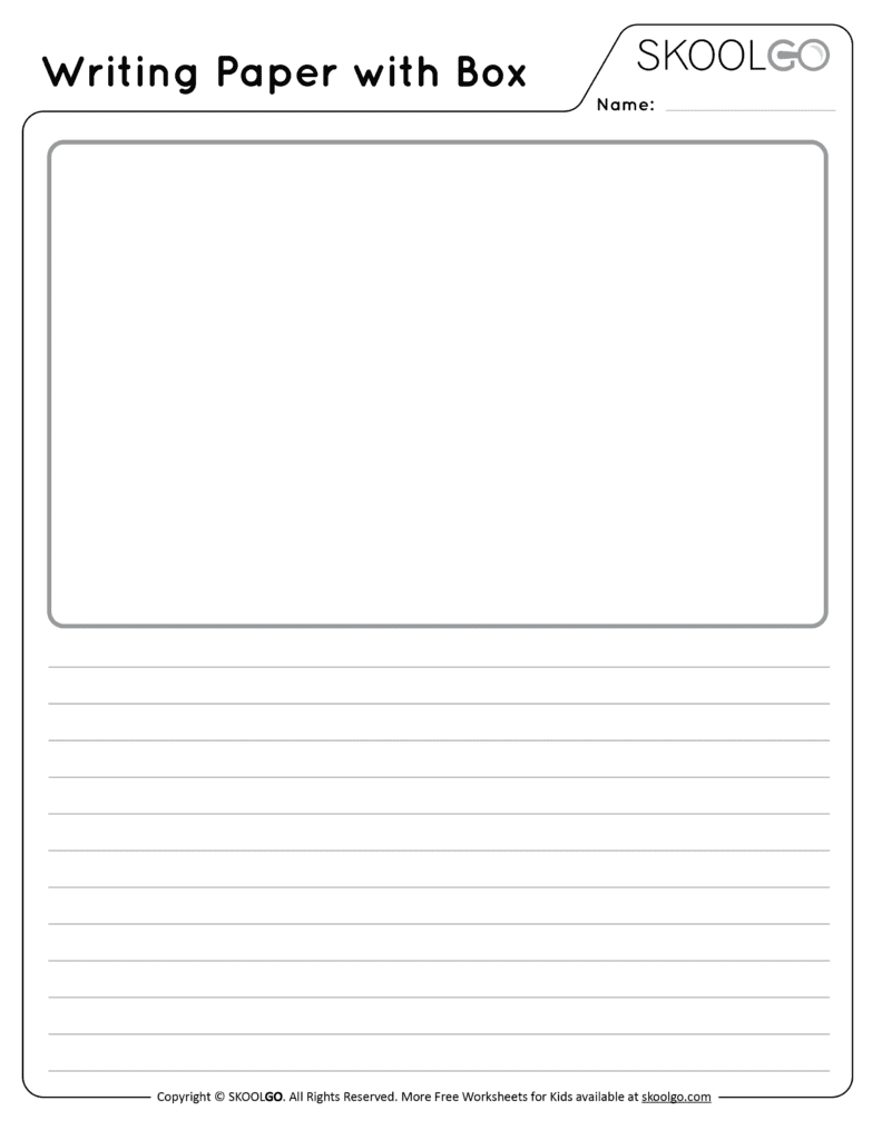 Writing Paper with Box - Free Black and White Worksheet for Kids