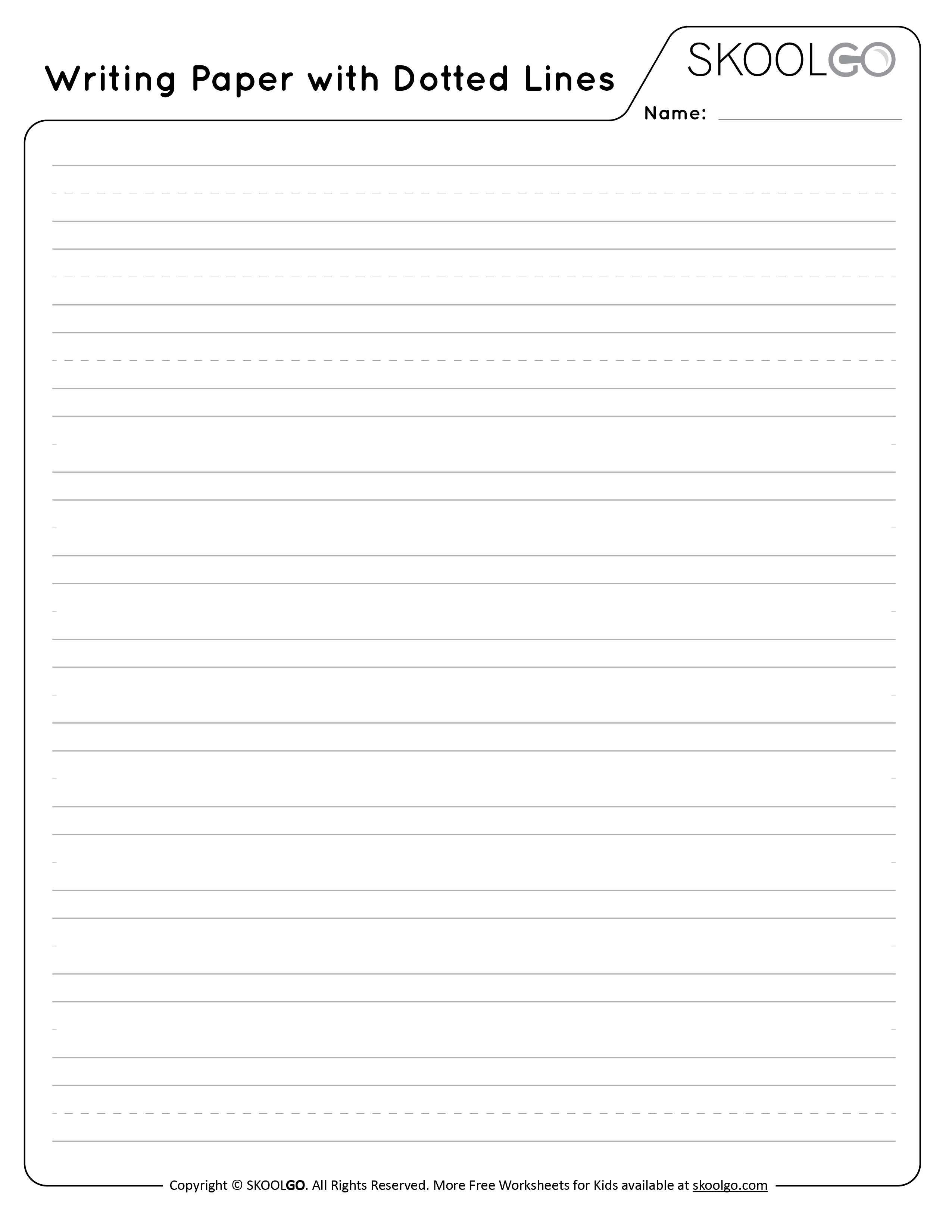 Writing Paper with Dotted Lines - Free Black and White Worksheet for Kids