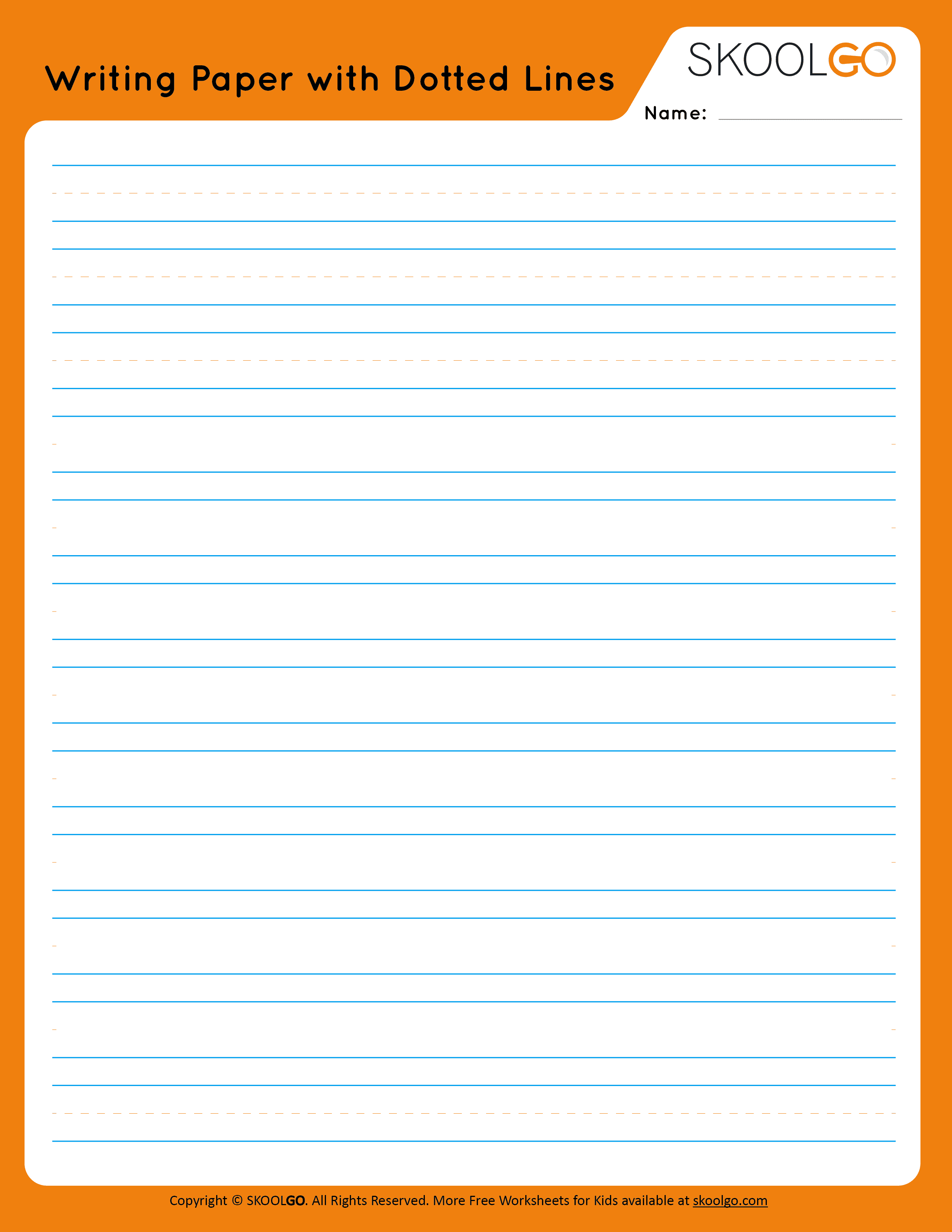 Writing Paper with Dotted Lines - Free Worksheet for Kids