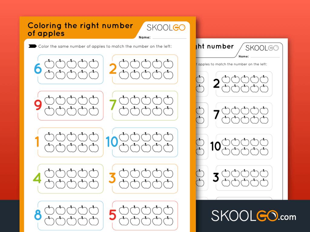 Free Worksheet for Kids - Coloring the Right Number of Apples - SKOOLGO