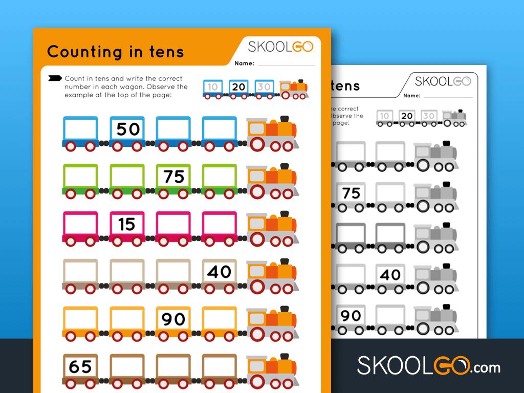 Free Worksheet for Kids - Counting in Tens - SKOOLGO