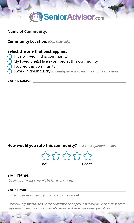 SeniorAdvisor.com Review Postcard