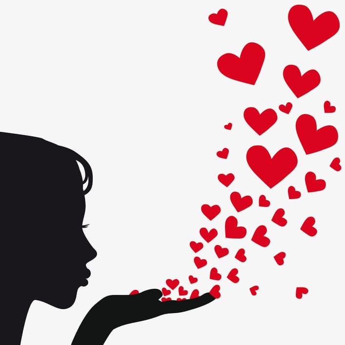 Silhouette woman blowing heart kiss