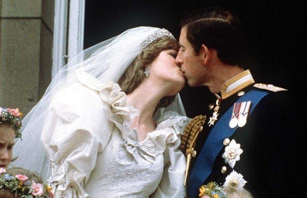 Princess Diana and Prince Charles Balcony Kiss Wedding Day