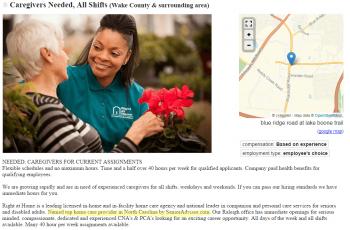 Right at Home Caregiver Job Ad