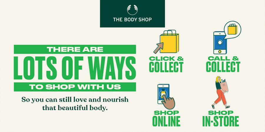 Lots of Ways to Shop so you can still love and nourish that beautiful body. Click & Collect. Call & Collect. Shop Online. Shop In-Store.