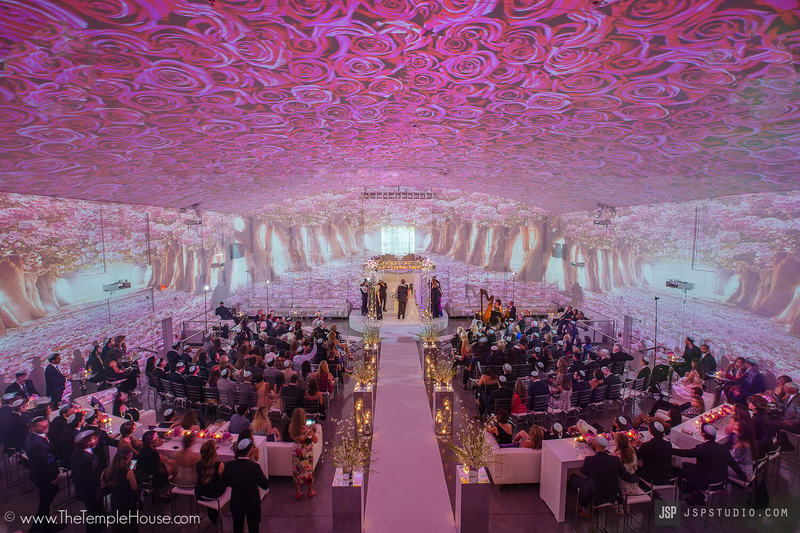 Rose Projection on the Walls of the Temple House Miami Beach Wedding Venue