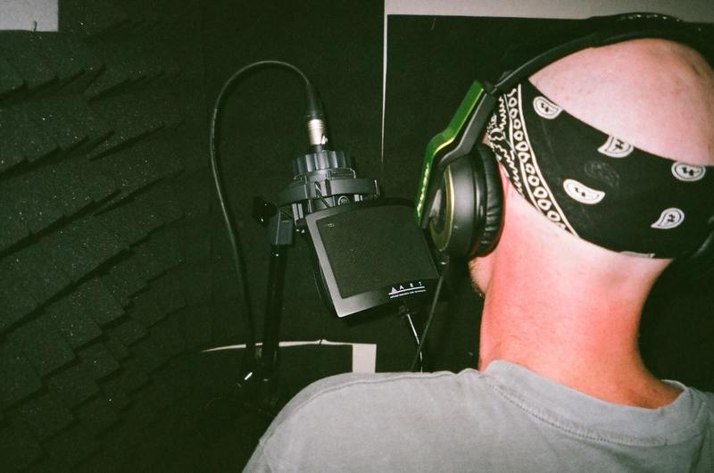 The business of recording a guy singing