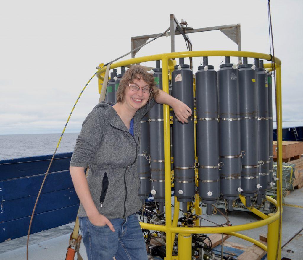 University of Washington technician Katie Bigham with the R/VRevelleCTD. Credit: W. Ruef, University of Washington, V18.