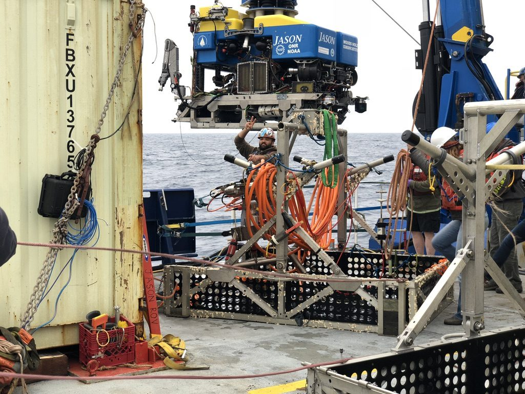 Photo of the recovered undervator, with ROV Jason, and Res Tech Josh Manger in the background. Credit: R. Centurion, University of Washington, V18