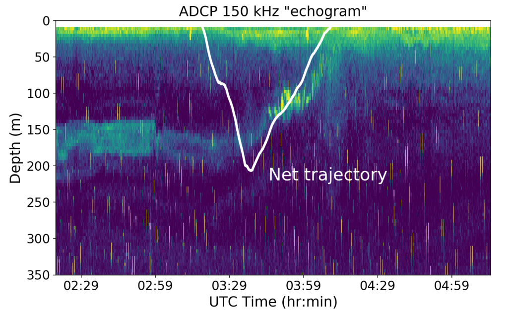 """Tucker trawl trajectory on the 2018-07-21 tow. The background is an """"echogram"""" assembled by compiling the amplitude of echo returns from the ship ADCP. The rain drop-like features on the echogram are interference from other acoustic instruments operating at the same time. The white net trajectory here was obtained by a time-depth recorder that was attached to the net.Credit: W. Lee, University of Washington, V18."""