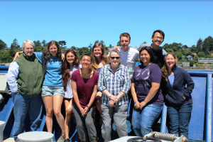 During Leg 1 (RR1809) of the NSF-funded Cabled Array cruise, there were 10 student participants from the University of Washington. From Left to Right: Deb Kelley (Chief Scientist and Instructor), Rachel Scott, Brittney Slucher, Eve Hudson, Katie Keil, Julie Nelson (Professor at Grays Harbor College and Scientist on the OOI cruise), Leroy Miller, Kaite Gonzalez, Bing-Yu Lee, and Terrie Manning. Not shown is Theresa Whorley and Brendan Philip. Credit: T. Whorley.