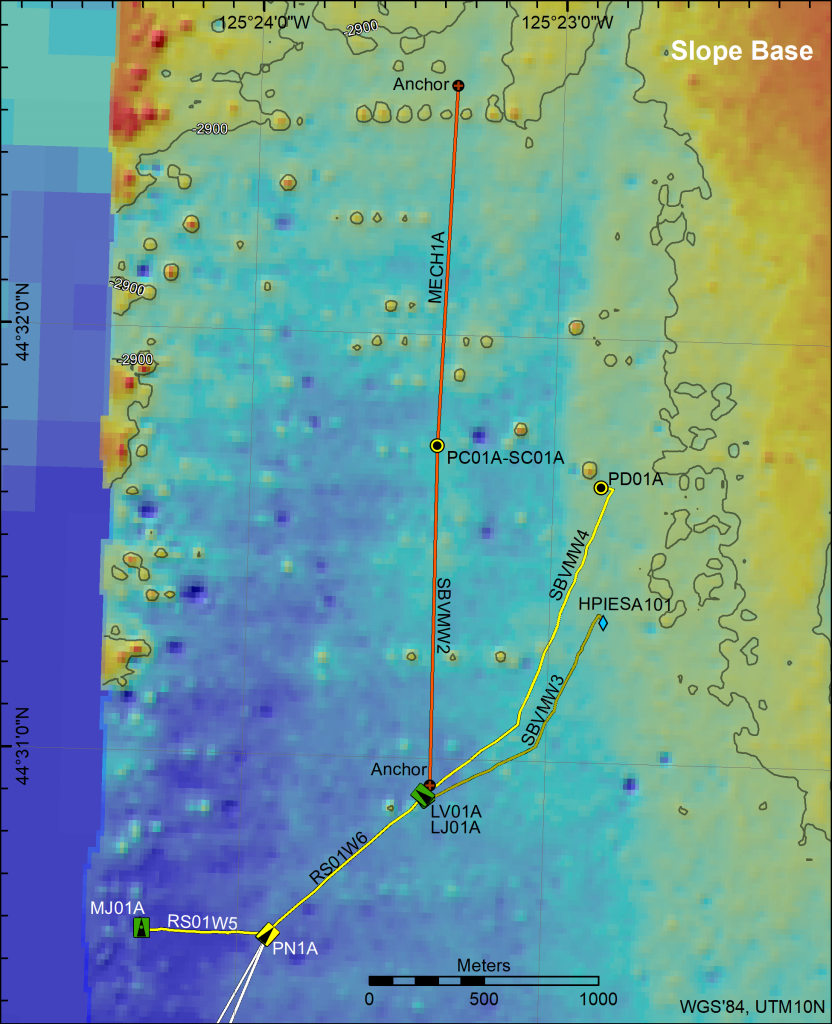 Bathymetric map showing OOI core infrastructure as installed in 2017 at the Slope Base site. Credit: M. Elend, University of Washington.