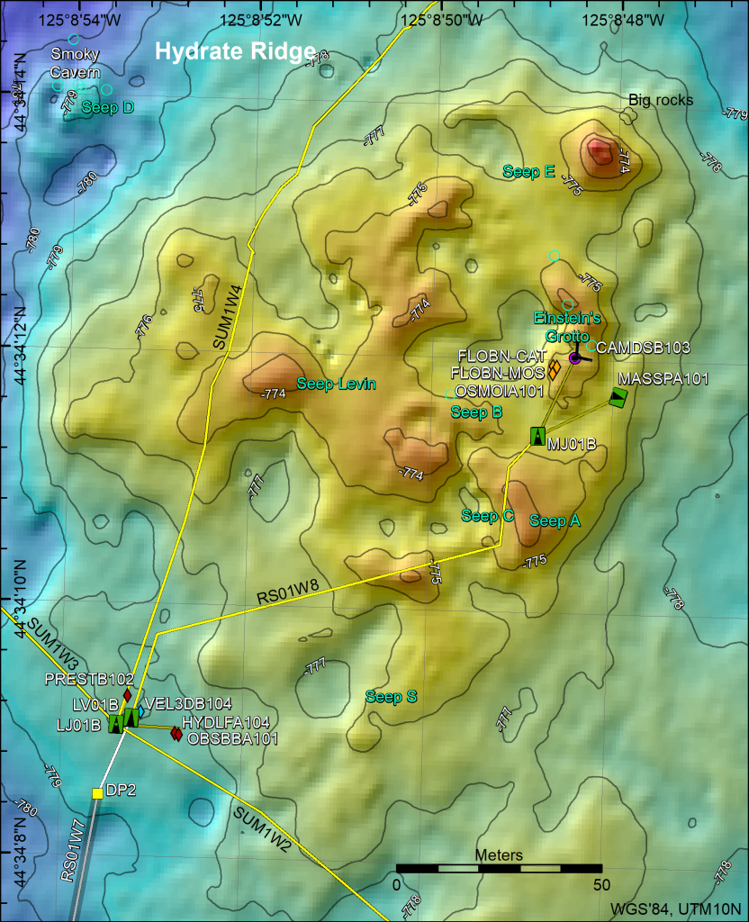 Bathymetric map of Southern Hydrate Ridge showing core OOI Cabled Array infrastructure and instruments as installed in 2017. The main study site is focused on Einsteins' Grotto that is highly dynamic with explosive bubble plumes and large collapse zones that have formed since 2010. Credit: M. Elend, University of Washington.