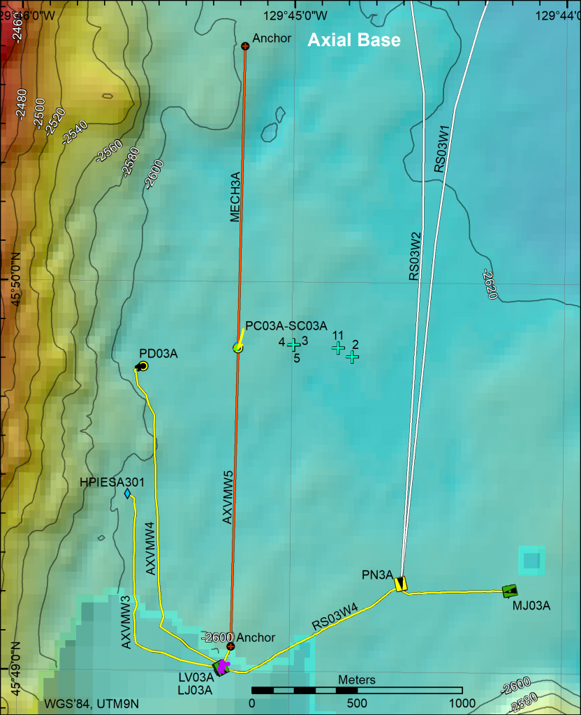 Location of Cabled Array infrastructure at Axial Base in 2017 and positions of CTD casts. Credit: M. Elend, University of Washington.