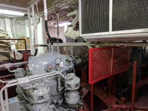 A view of the engine room on the R/V Roger Revelle - the ship crew gave a fantastic tour to the VISIONS'17 science-education team. Credit: K. Eyer, Kingston Middle Schoo, V17.