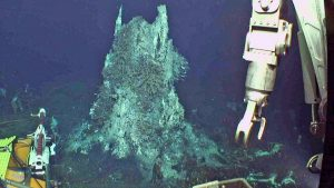 "The camera was reinstalled in the ASHES hydrothermal field during Leg 2 of the Cabled Array OOI-NSF VISIONS17 cruise. The structure is ~ 3.5 m tall and covered in tube worms, limpets, scaleworms and palmworms. This camera has a brush on it so that it can ""clean its face"" of biofouling. Credit: UW/OOI-NSF/WHOI; V17."