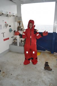 Sasha Seroy looks stunning in her survivial suit, fondly called a gumby suit. Credit: M. Elend, University of Washington, V17.