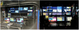 A view inside the Jason control room before and during an ROV dive. Credit: K. Eyer, Kingston Middle School, V17.