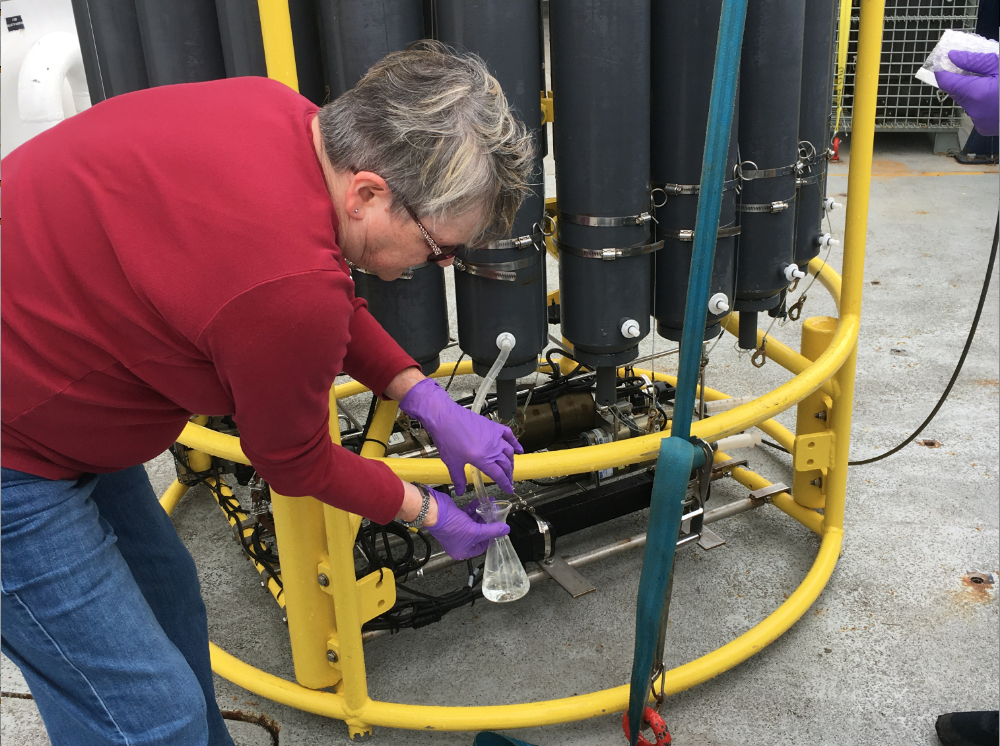Julie Nelson, from Grays Harbor College, samples fluids collected from deep NE Pacific waters off Oregon from Niskin bottles on a CTD-rosette. Credit: M. Elend, University of Washington, V17.