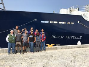 Undergraduate students from the University of Washington, University of Puerto Rico, and Queens College, New York gather for a last goodbye at the end of the UW-OOI-NSF cruise RR1713, Leg 1 of the Regional Cabled Array Operations and Maintenance Expedition.