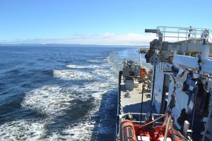 THe R/V Roger Revelle begins its steam west to the Oregon Endurance Offshore Site. Credit: M. Elend, University of Washington.