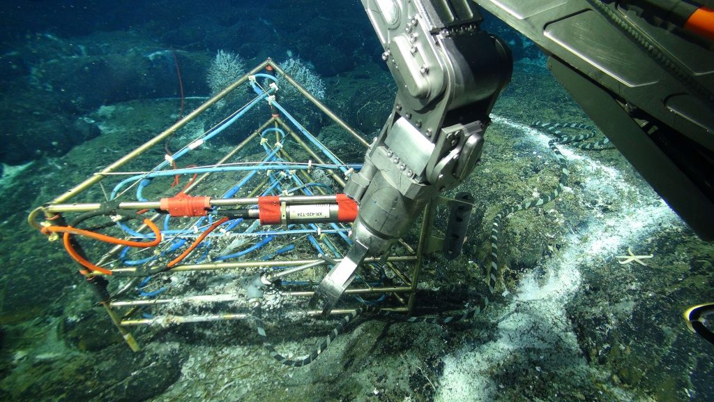 A 3D temperature (thermistor) array housing 24 sensors rests above a small diffuse flow site a few meters away from the actively venting black smoker edifice called Mushroom in the ASHES hydrothermal field on Axial Seamount. This cabled instrument was designed and built by G. Proskurowski, UW School of Oceanography. Limpets have colonized the frame and cable housing the thermistors. An osmotic fluid sampler is inserted into the diffuse flow site to obtain chemistry coregistered with temperature. Credit: UW/NSF-OOI/WHOI; V16.