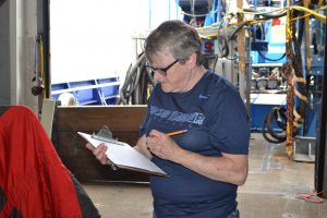 Julie Morris, from Grays Harbor College, helping to lead CTD operations on the R/V Sikuliaq during the VISIONS'16 cruise. Credit: M. Elend, University of Washington, V16.