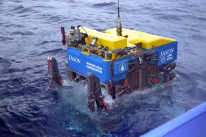The ROV Jason enters the NE Pacific waters for the first time during the VISIONS'16 cruise. Credit: M. Elend, University of Washington; V16.