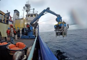 The ROV Jason is about to enter the ocean above Axial Seamount on its first launch of the VISIONS'16 program. Credit. S. Denny, University of Washington, V16.