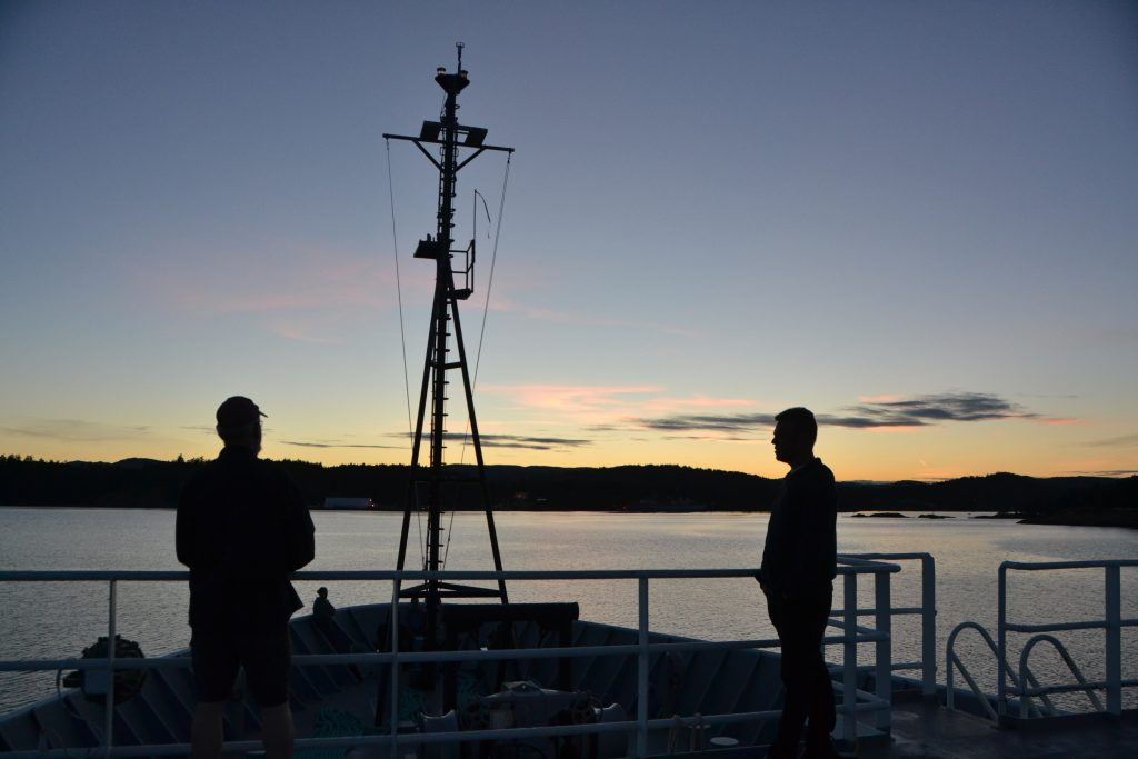 Leaving Esquimalt after sunset. Credit: Erin Haphey, UW; V15.