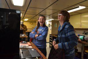 Katie and I enjoying each other's company. Credit: Cole Rogers, Western Washington University; V15.