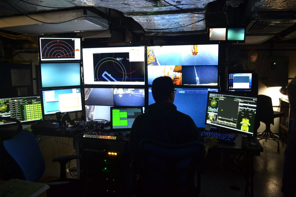 The ROPOS control room onboard the R/V Thompson is a magical place for many where we get to see parts of the ocean never before seen, and first of their kind operations.