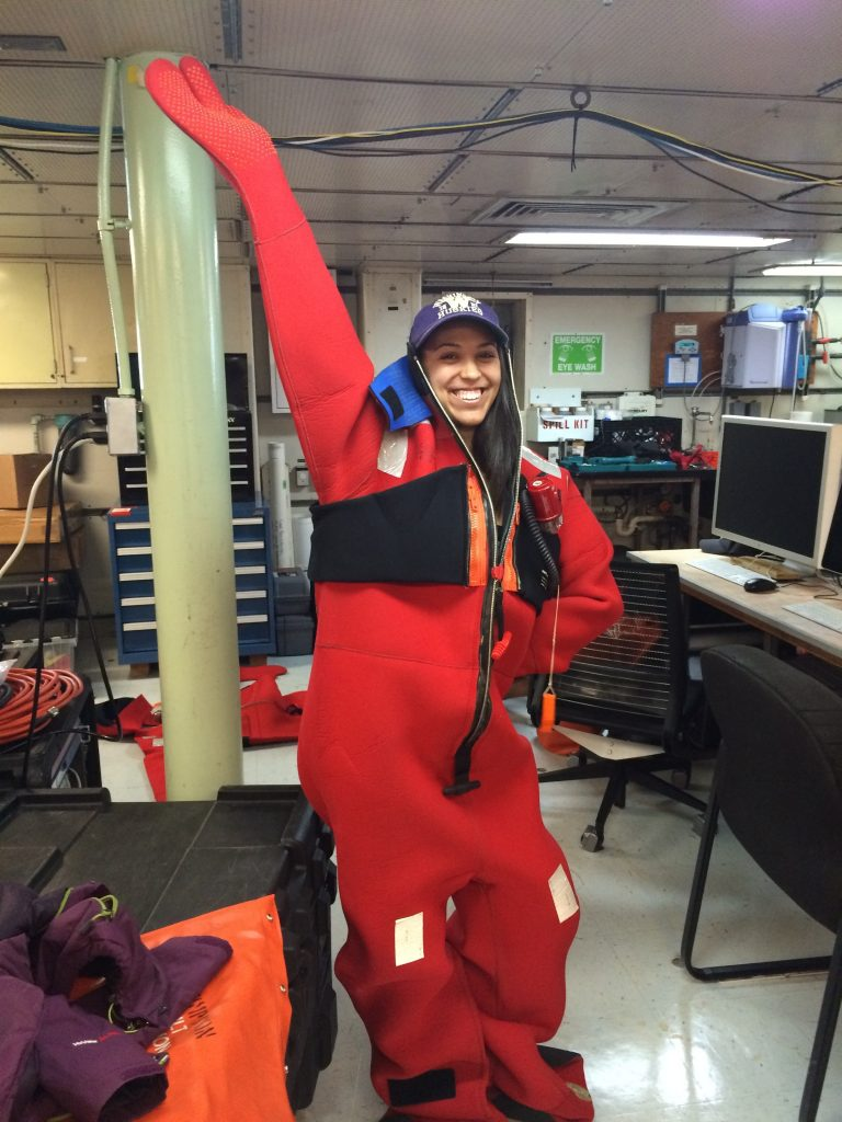 Kadijah Homolka models a gumby suit during the Leg 1 safety meeting.