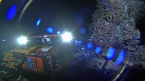 A new high definition camera was installed at the hydrothermal vent called 'Mushroom' in the ASHES hydrothermal field atop Axial Volcano. The camera, built by the UW Applied Physics Lab, was tested today and streamed live HD imagery >300 miles back to shore from a water depth of >5000 m. Credit: Credit: NSF-OOI/UW/ISS; Dive R1835; V15.
