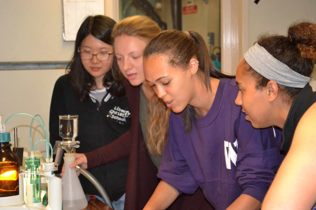 VISIONS'15 students learn how to make measurements of dissolved oxygen in seawater taken at depths of 1000 m beneath the ocean's surface during Leg 1. Credit: Debbie Kelley, University of Washington.