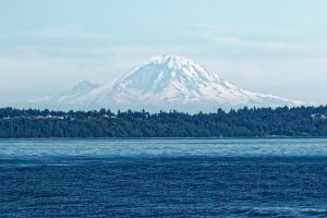 Mt Rainer stood out beautifully on July 4th as the R/V Thompson steamed through Puget Sound. We will not see her again until August 7, when we return to Seattle. Credit: Ed McNichol.
