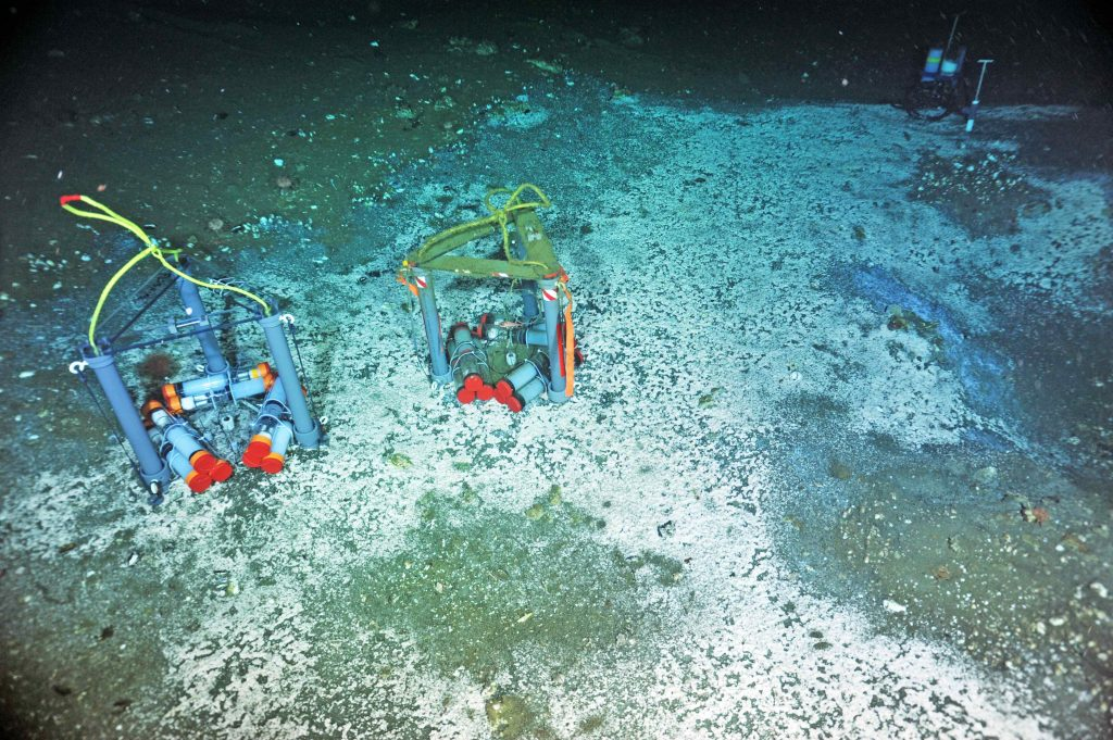 """A """"Mosquito"""" flow meter (far left) and osmotic fluid sampler (far right) are installed in an active methane seep at Southern Hydrate Ridge. A second Mosquito, colonized by organisms, awaits recovery. These instruments provide fluid chemistry information, as well as calculations of fluid flow in and out of the seafloor. Photo credit: NSF-OOI/UW/CSSF; Dive R1772; V14."""