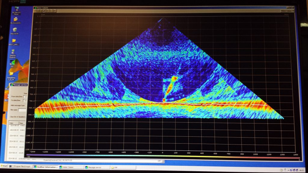 Bubble plumes above Southern Hydrate Ridge Summit as imaged by the R/V Thompson's sidescan sonar. These sonar surveys were used to plan CTD casts to sample for methane in the water column.  Photo Credit: Bob Collier, OSU