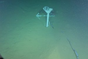 The hydrophone tripod connected to the BEP at the Endurance Oregon Offshore site. The hydrophone is an underwater microphone listening for marine mammal vocalizations, anthropogenic noise, and other acoustic signals. It is offset from the BEP site by ~10 meters to reduce background noise.  	Photo Credit: NSF-OOI/UW/CSSF, Dive 1747, V14