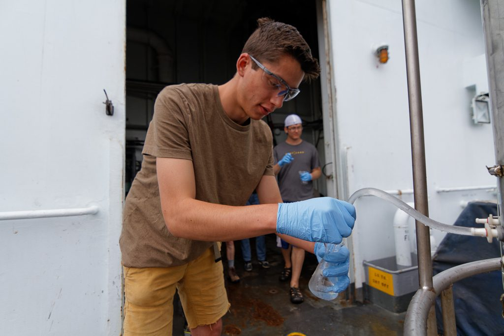 Matt using the CTD to take water samples