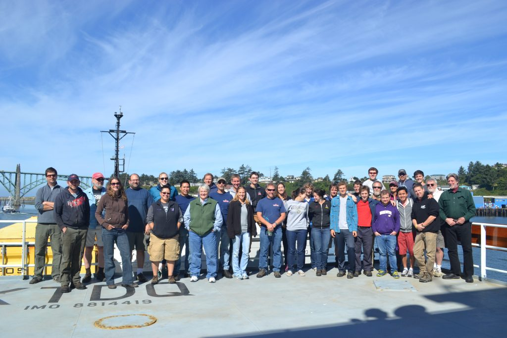 The VISIONS14 Science Party and the ROPOS team congregated on the bow of the R/V Thompson for a final get together before coming into port into Newport OR. Photo Credit: Mitch Elend, University of Washington, V14.