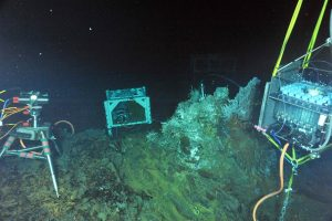 "During ROPOS Dive R1729, a digital-still camera (left), a mass spectrometer (middle) and a fluid- and microbial-DNA sampler (right) were installed in the International District Hydrothermal Field at the vent called El Gordo. A titanium ""hat"" rests on top of the structure in a tubeworm and limpet patch. Inside the ""hat"" are temperature probes and intake nozzles for the fluid and DNA sampler. Photo credit: NSF-OOI/UW/CSSF; Dive R1729; V14."
