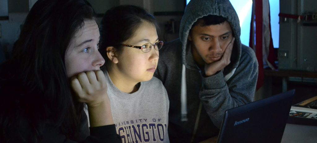 Students who participate on VISIONS cruises are fully engaged in the scientific pursuits while onboard the R/V Thompson, including the detailed logging of ROV ROPOS dives.  Photo credit:  Mitch Elend, University of Washington, V14