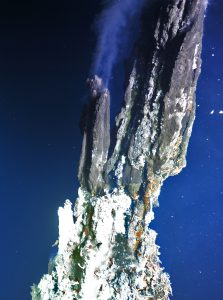 During VISIONS'14 Dive R1713 with the ROV ROPOS, a photomosaic was completed of the ~50- to 60-foot tall chimney called El Guapo, which historically has been venting boiling fluids. Photo Credit: NSF-OOI/UW/CSSF; Dive R1713; V14.